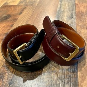 COACH Bundle of Two (2) Belts - Black and Burgundy